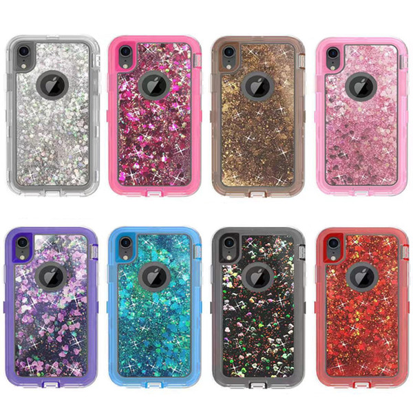 separation shoes 07248 76095 Bling Liquid Filled Glitter Phone Case For IPhone X XR XS MAX 8 7 6 Plus  Robot Shockproof Cover Case For Samsung S10 Plus S9 S8 S7 Note 8 9  Wholesale ...