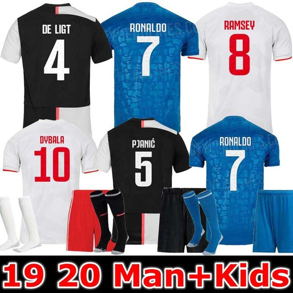 19 20 ronaldo occer jer ey 2019 2020 de ligt dybala higuain buffon maglie futbol man and kid kit training football hirt, Black;yellow