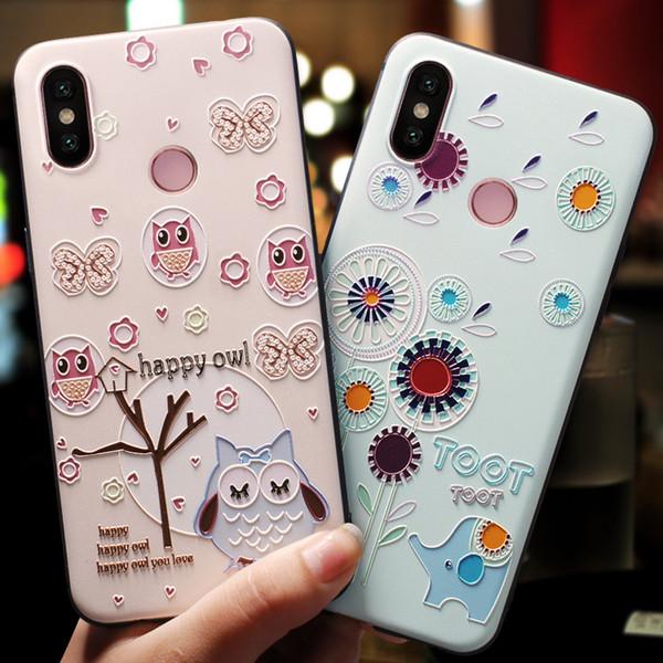 For Xiaomi Mi 8 9 Lite 6X A2 6 5X Redmi 5 Plus Mi8 Mi9 Case Soft Silicone Rubber Cover 3D Animals Flowers