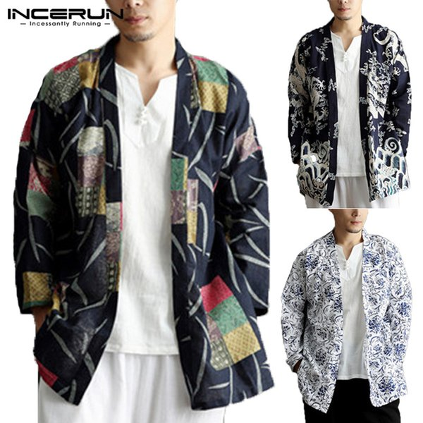INCERUN 2019 Men Trench Coat Ethnic Printed Cotton Outwear Chinese Style Pockets Long Sleeve Men Jackets Kimono Cardigan 5XL