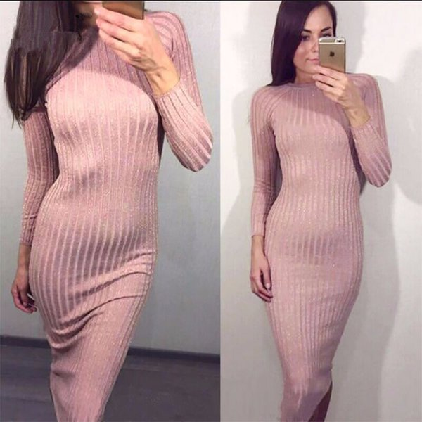 Kadın Sütun Elbise Ince Ince Parlak Ipek Elbiseler Yuvarlak Boyun Uzun Kollu 2019 İlkbahar Sonbahar Moda Örgü Kadın Giyim Ücretsi ...