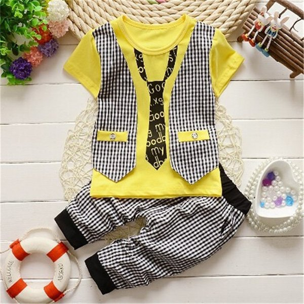 good quality Baby Boy summer Clothing Set kids Clothes set Gentleman Suit Boys short Sleeve T-shirt + Pants childrenClothing Set