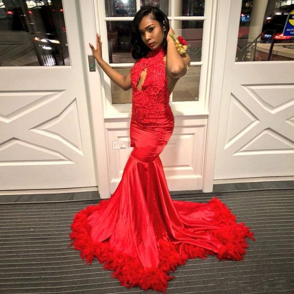 2019 Red African Mermaid Prom Dresses Appliques Halter Keyhole Neck Ruffles  Backless Evening Gown Plus Size Black Girls Party Dress Prom Dress Stores  ...