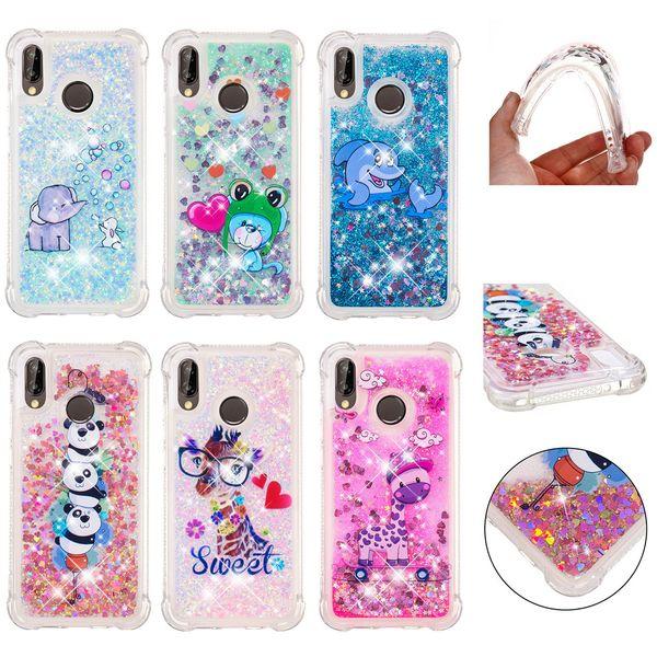 Soft Fashion Love Heart Quicksand Liquid Glitter Silicone Phone Case for Huawei P smart Huawei P30 Air Cushion Corner Shockproof 03