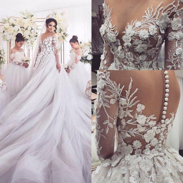 Discount 2020 New Arabic Vintage Wedding Dresses Chapel Train Lace