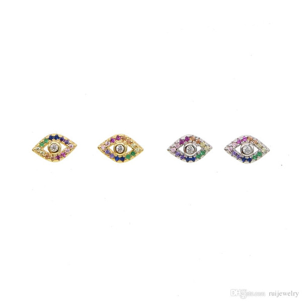 100% Genuine 925 Sterling Silver rainbow cz Evil Eyes Micro Paved tiny cute Stud Earrings For Women Delicate wedding Jewelry