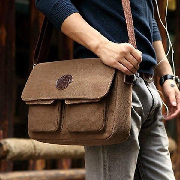 Vintage Männer Brown Retro Segeltuch-Leder mit zwei Taschen-Schulter-Kurier Reisetasche Umhängetasche