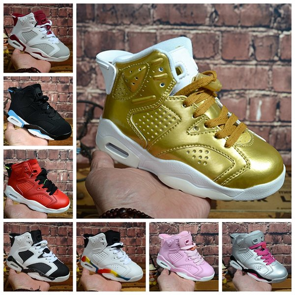 New Kids 6 baby Basketball Shoes unc gold black red kid 6s Boys Girls luxury Designer Sneakers Children Sports trainers boots Size 28-35