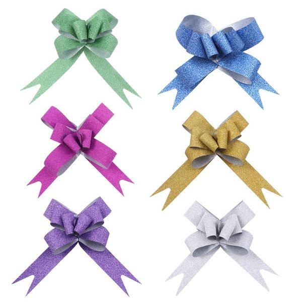 100pcs Glitter Pull Bows Gift Knot Ribbons String Bows for Gift Wrapping Flower Basket Wedding Car Decoration (Assorted Colors)
