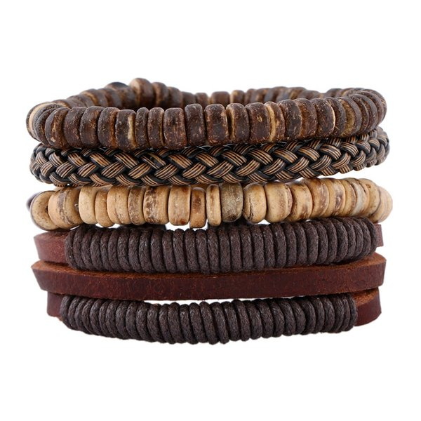 2018 Trendy Herren Leder Armband Armbänder Handmade Holz Perlen DIY Vintage Multilayer Leder geflochtene Wrap Armband Schmuck Geschenke