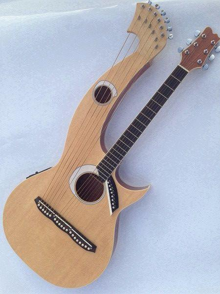 best selling Rare Harp Guitar 6 6 8 String Natural Wood Acoustic Electric Guitar Double Neck Guitar