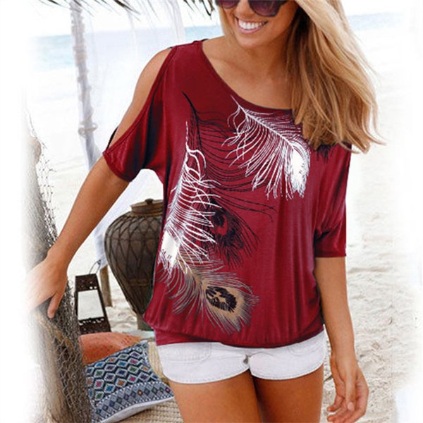 Vrouwen Zomer T-shirt Casual Korte Mouw Tops Tees Sexy Off Shoulder Feather Print T-Shirt O-hals Losse Plus Size 5XL shirts
