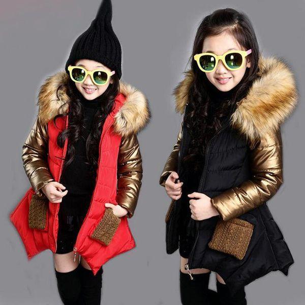 Kalın Bebek Kız Parkas Coat Moda Altın Çıkarılabilir Palto 3-12yrs Kızlar Çocuklar Çocuklar Için Kış Ceket Giyim Giysi