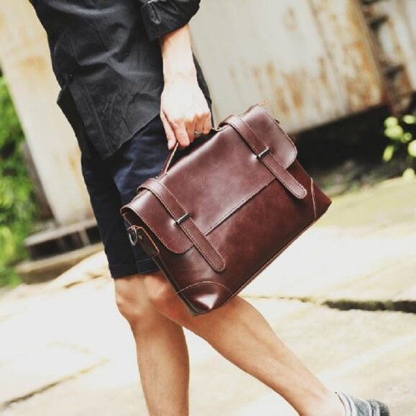 Famous Brands Vintage Leather Briefcases Men Messenger Bags Brown Luxury Business Briefcase Document Leather Laptop Bag #88260