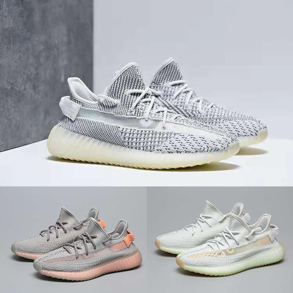 top popular Static V2 Running Shoes off Mens Kanye West Sesame Designer Shoes white Zebre Bred Blue Tint Butter trainers Women Sneakers Size 36-46 2019