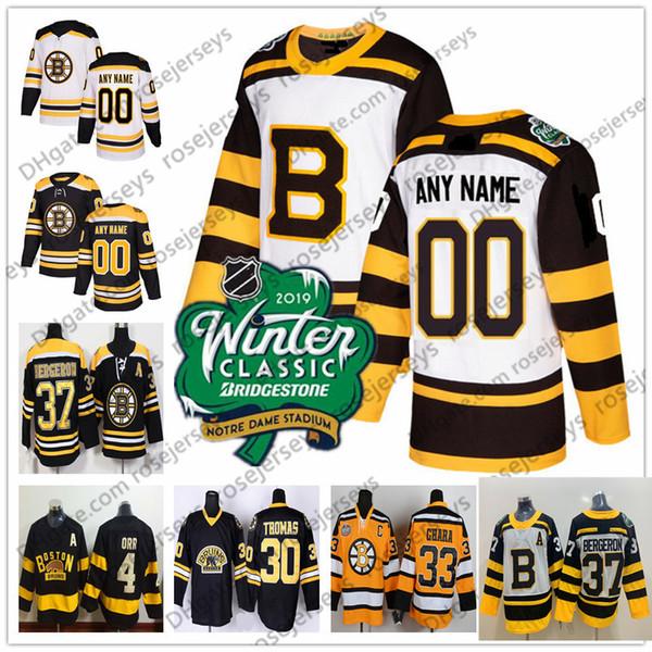 the latest bd0e4 9cba1 2019 Boston Bruins Black 2019 Winter Classic White Jersey 37 Patrice  Bergeron 41 Jaroslav Halak 42 David Backes 46 David Krejci 47 Torey Krug  From ...