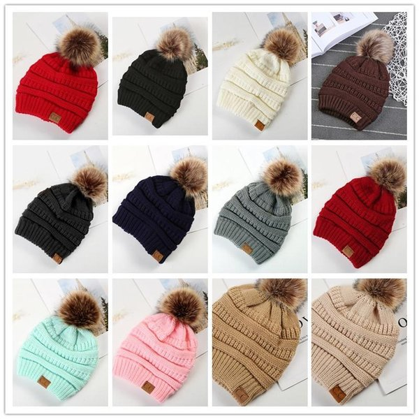 Large Ball Winter Wool Warm Women Knitted CC Hat Fur Pom Poms Crochet Beanie Ski Cap Bobble Fleece Cable Slouchy Skull Caps 12 Colors 100pcs