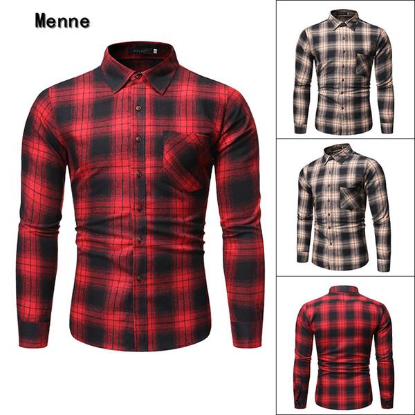 Menne 2019 chemise à carreaux en coton rouge et le riz blanc hommes shirt avec une poche pour les hommes