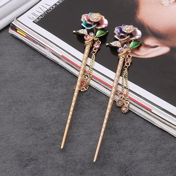 Chinese Traditional Stick Women Handmade Metal Rhinestone Hairpin Fashion Classic Vintage Hair Accessories Tiara haarspeld C19010501