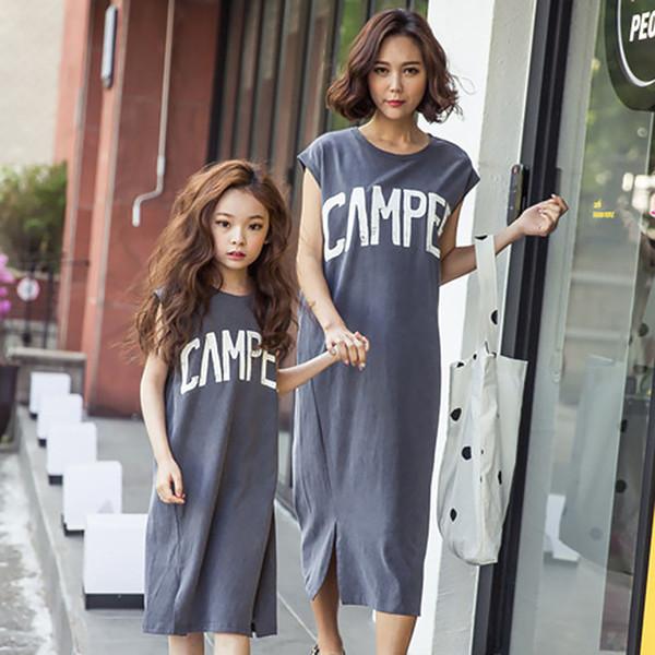 MILANCEL anne ve ben giysi moda anne kızı elbiseler yaz elbise 2019 eşleştirme aile kıyafetleri