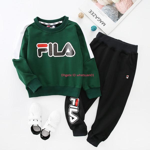 New Boy Sweatshirt sets осень детская дизайнерская одежда с принтом письмо Толстовка + повседневные брюки 2шт из гребенного хлопка наборы для бега