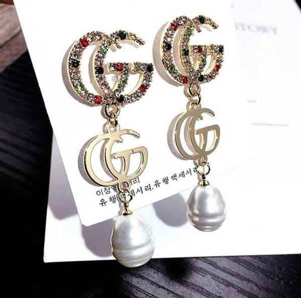 top popular G12 Wholesale Double Layers Earrings Letters Dangle Drop Pearl Earring Gold Silver Ear Studs For Women Wedding Party Jewelr 56 2019