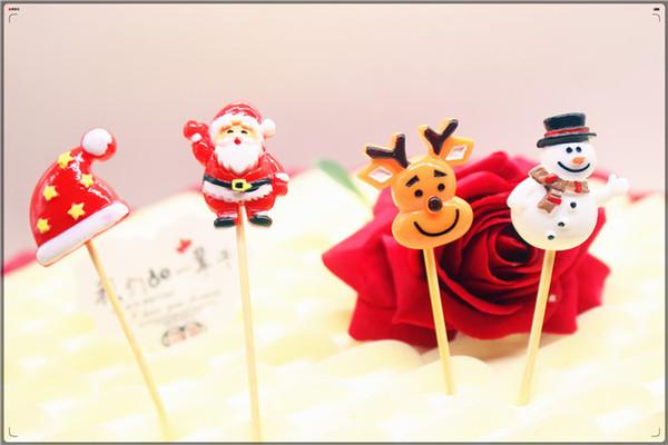 3D Santa Claus fiesta de Navidad del muñeco de nieve adorno de torta torta de la magdalena de la resina linda torta de muñecas de dibujos animados banderas de decoración