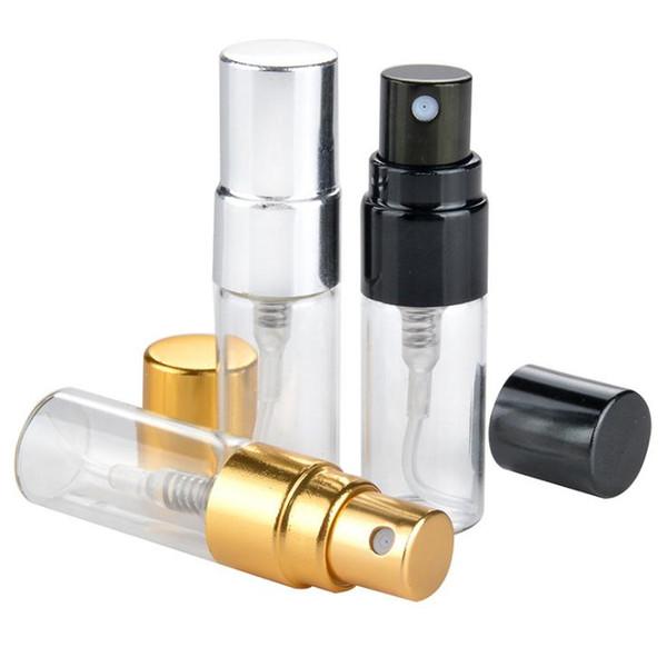 3 ML Garrafa de Perfume De Vidro Recarregáveis de Viagem Com Pulverizador UV Bomba Cosmética Spray Atomizador Prata Preto Cap Ouro SN2512