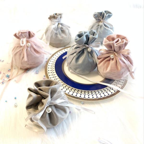 2019 Yeni Flanel Takı Hediye Çanta Düğün Iyilik ve Hediyeler Kutusu Doğum Günü Bebek Duş Parti Malzemeleri için Tatlı Şeker Çanta