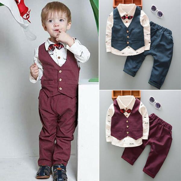 REINO UNIDO Moda Criança Kid Boy Terno Smoking Top Waistcoat Calças Calças Terno Formal Roupa Outfit Cavalheiro Roupas Formais 1-5Y