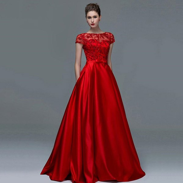 wholesale Elegant Red Lace Short Sleeves Evening Dresses 2019 Sexy A-Line Boat Neck Keyhole Long Women Formal evening dress gowns