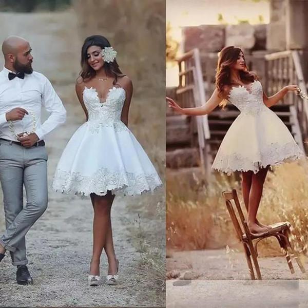 Discount 2019 Short Wedding Dresses Lace Vestido De Novia Vintage Informal Wedding Bridal Gowns Bride Reception Dresses Designer Dresses Online