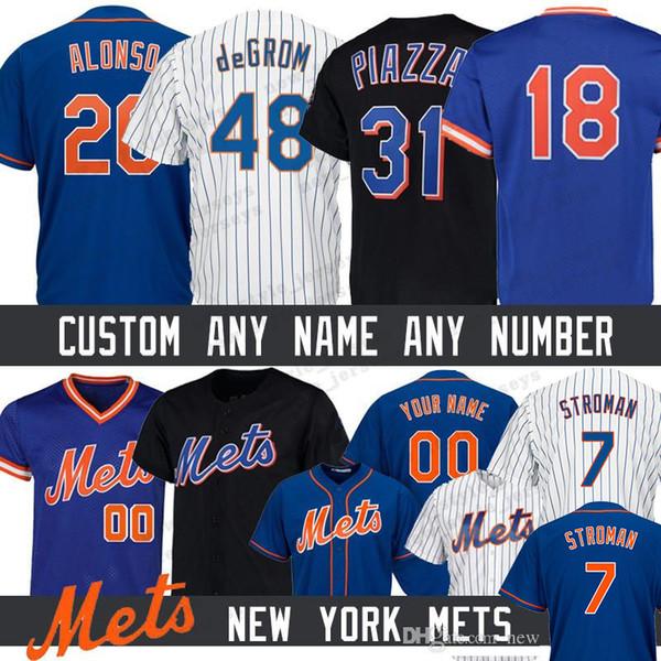 20 Pete Alonso Özel New York Erkekler Mets jersey 7 Marcus Stroman 48 Jacob deGrom 17 Keith Hernandez 18 Darryl Çilek Beyzbol Formalar