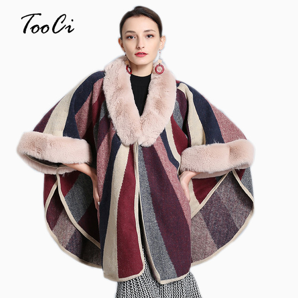 Kadın Faux Fox Kürk Yaka Cloak Coat Moda Bej Örme Hırka Yün Kaşmir Kazak Kadın Burunları ve Ponchoes