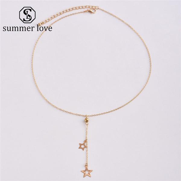 2019 Новые пентаграмма Шарм золотые подвески Ожерелье для женщин цепи 47 см личность ожерелье ювелирные изделия
