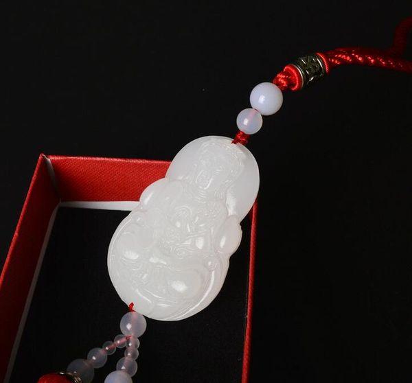 Jade white jade car decoration pendant Buddha statue jade carving car pendant decoration car hanging