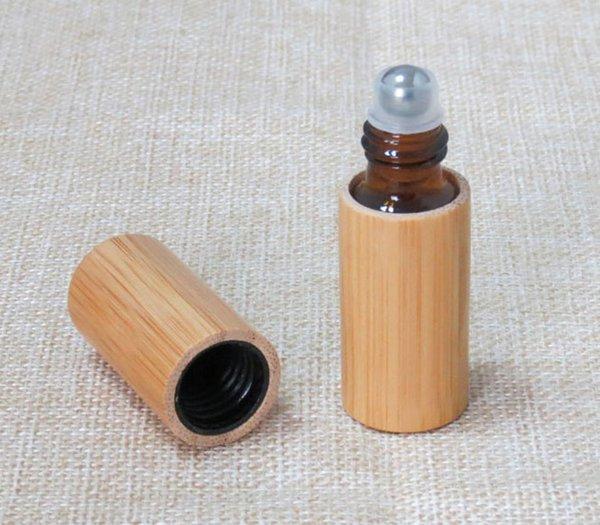 Rouleau de bambou 50pc / lot 5ml sur la bouteille en verre de parfum, rouleau de récipient eyecream, bouteilles de cosmétiques lotion pour les parfums, huile essentielle