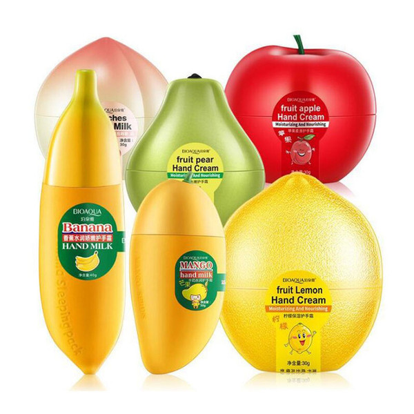 top popular Moisturizing Hydrating Hand Cream Fruit Pear Lemon Peach Mango Banana Winter Hand Care Nourishing Skin Care 2021