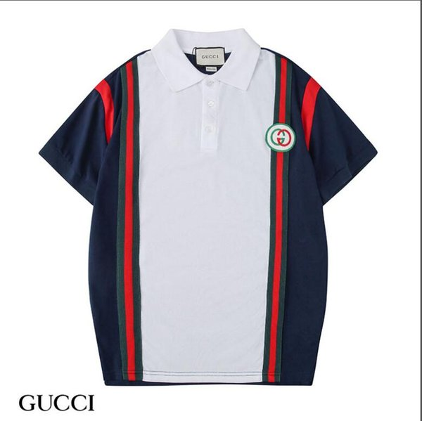 039bde9f8 2019 Short Sleeve Lapel Brand GUCCI T-Shirt Mens Sweatshirts With Letters  Luxury Designer Men