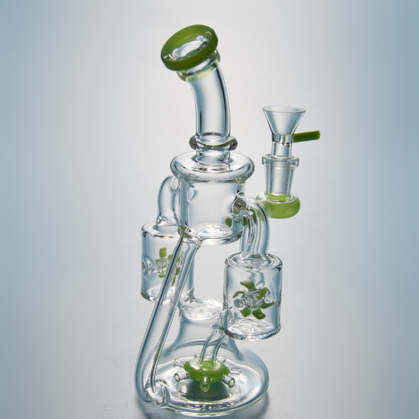 Double Recycler Unique Glass Water Bongs Propeller Percolater Dab Oil Rigs Green Purple Water Pipes 14mm Female XL167