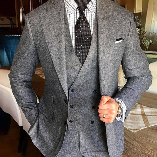 2019 grey men suit for wedding tweed blazer custom classic jacket double breasted vest slim fit tuxedo elegant formal 2 pieces