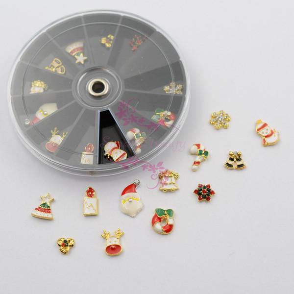 Nail Art Manciure 8CM Black Wheel Boxed 24PCS Xmas Alloy Charms Snowflake Santa Tree Angel Deer Candy Cane Bell Metal 3D Jewelry