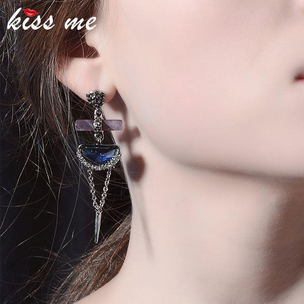 Purple Natural Stone Rhinestone Dangle Earrings Popular Women Long Drop Earrings Fashion Jewelry