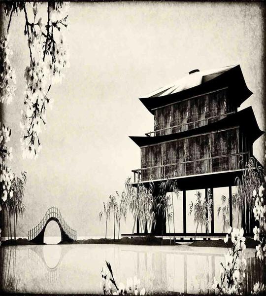 Satın Al Japon Kral Nevresim Set Mürekkep Boyama Tarzı Manzara Uzak