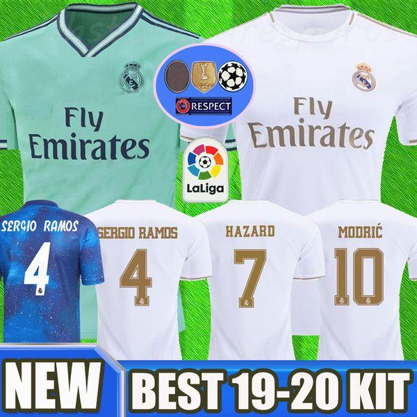 2019 Real Madrid HAZARD Soccer Jerseys 18/19/20 Green Home kit MODRIC MARCELO 2020 KROOS ISCO ASENSIO BALE EA Camisetas de fútbol americano