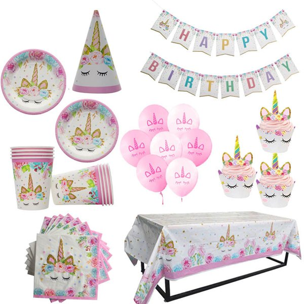 Unicorn Party Pink Tablecloths Paper Plates Cups Birthday Party Decorations Kids Latex Balloon Baby Shower Unicornio Decor