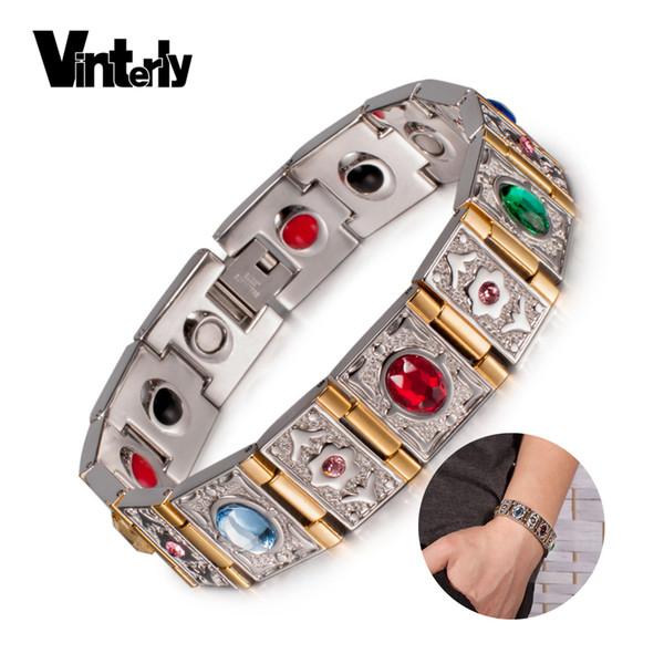 Vinterly Poignet Bande Magnétique Bracelet Hommes En Acier Inoxydable Or-couleur Chaîne Bracelets Crystal Energy Germanium Bracelets MX190720