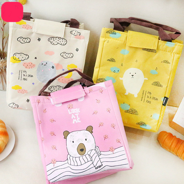 Women Men Canvas Aluminum Foil Thickening Insulation Lunch Hand Carrying Bento Food Bag For Mommy C19021301