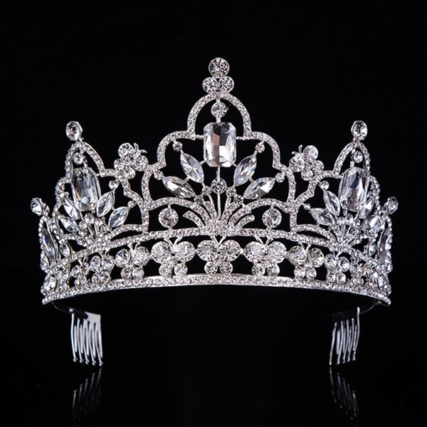 Hot Silver Crystal Large Queen Pageant Crown Noble Rhinestone Diadem Tiaras For Princess Headbands Wedding Hair Accessoriest-029 Y19061703