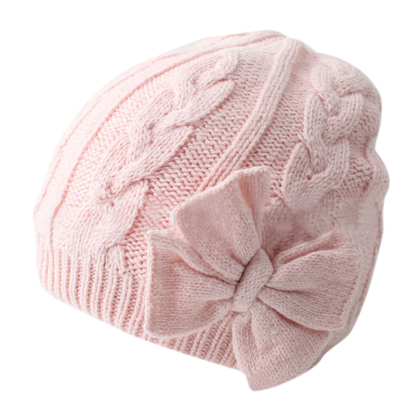 Baby Girls Winter Warm Knitted Baby Hat For Girls Cotton Lined Infant Toddler Hat Headwear Knitted Cap For 0-2 Years T6#